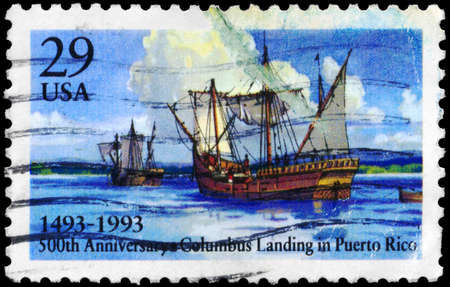 USA - CIRCA 1993: A Stamp printed in USA shows the Columbus Landing in Puerto Rico, 500th anniversary, circa 1993 photo