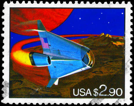 orbital spacecraft: USA - CIRCA 1993: A Stamp printed in USA shows the Futuristic Space Shuttle, circa 1993