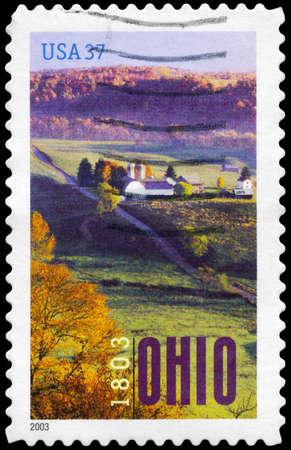 statehood: USA - CIRCA 2003: A Stamp printed in USA shows Aerial View of Farm near Marietta, Ohio Statehood Bicentennial, circa 2003 Stock Photo