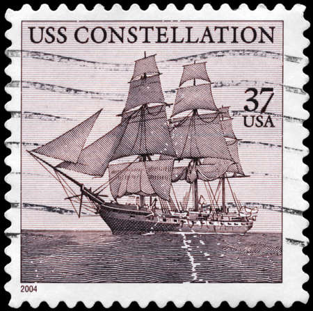 """stamp collection: USA - CIRCA 2004: A Stamp printed in USA shows the old frigate """"USS Constellation"""" (1797), circa 2004"""