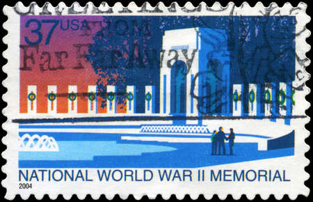USA - CIRCA 2004: A Stamp printed in USA shows the National World War II Memorial, circa 2004 photo