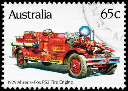 AUSTRALIA - CIRCA 1983: A Stamp printed in AUSTRALIA shows the Ahrens-Fox PS2 (1929), Historic Fire Engines series, circa 1983