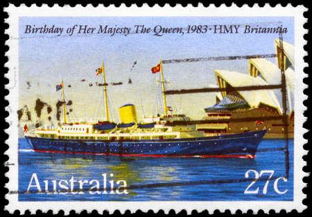 britannia: AUSTRALIA - CIRCA 1983: A Stamp printed in AUSTRALIA shows the HMY Britannia, devoted to Queen Elizabeth II, 57th Birthday, circa 1983