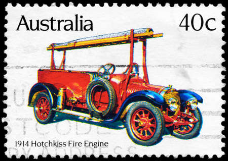 AUSTRALIA - CIRCA 1983: A Stamp printed in AUSTRALIA shows the Hotchkiss (1914), Historic Fire Engines series, circa 1983