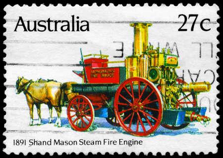 AUSTRALIA - CIRCA 1983: A Stamp printed in AUSTRALIA shows the Shand Mason Steam (1891), Historic Fire Engines series, circa 1983 photo