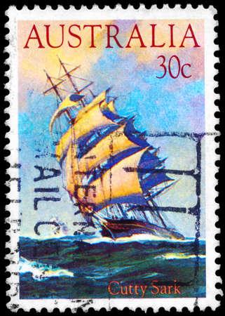 sark: AUSTRALIA - CIRCA 1984: A Stamp printed in AUSTRALIA shows the ship Cutty Sark (1869), Clipper Ships series, circa 1984
