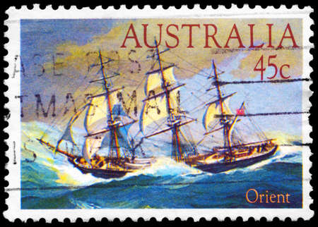 AUSTRALIA - CIRCA 1984: A Stamp printed in AUSTRALIA shows the ship Orient (1853), Clipper Ships series, circa 1984