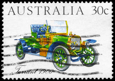 AUSTRALIA - CIRCA 1984: A Stamp printed in AUSTRALIA shows the Tarrant Car (1906), Australian-made vintage cars series, circa 1984 Stock Photo - 14986932