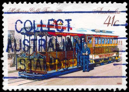AUSTRALIA - CIRCA 1989: A Stamp printed in AUSTRALIA shows the Cable Car, Melbourne, 1886, series, circa 1989 Stock Photo - 14987891