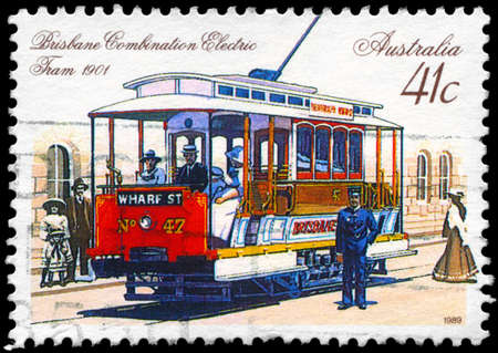 AUSTRALIA - CIRCA 1989: A Stamp printed in AUSTRALIA shows the Combination Electric Tram, Brisbane, 1901, series, circa 1989 Stock Photo - 14987933