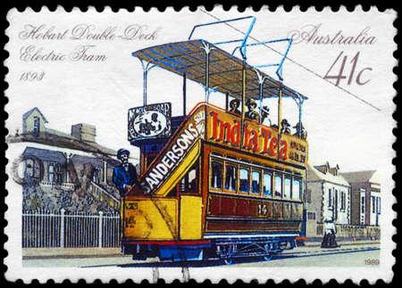 AUSTRALIA - CIRCA 1989: A Stamp printed in AUSTRALIA shows the Double-deck Electric Tram, Hobart, 1893, series, circa 1989 Stock Photo - 14987940