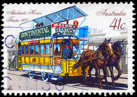 AUSTRALIA - CIRCA 1989: A Stamp printed in AUSTRALIA shows the Horse-drawn Tram, Adelaide, 1878, series, circa 1989 Stock Photo - 14986902