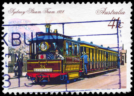 AUSTRALIA - CIRCA 1989: A Stamp printed in AUSTRALIA shows the Steam Tram, Sydney, 1884, series, circa 1989 Stock Photo - 14986913