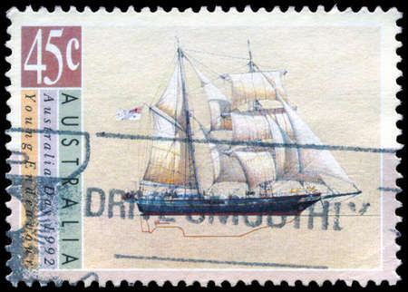 AUSTRALIA - CIRCA 1992: A Stamp printed in AUSTRALIA shows the Young Endeavour, Sailing Ships series, circa 1992 photo