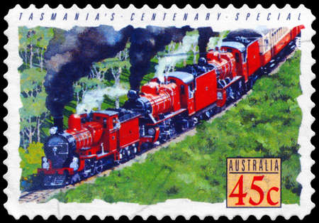 AUSTRALIA - CIRCA 1993: A Stamp printed in AUSTRALIA shows the Centenary Special Locomotive, Tasmania, Trains series, circa 1993 Stock Photo - 14987824