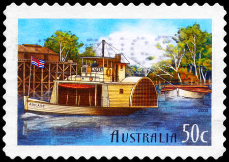 AUSTRALIA - CIRCA 2003: A Stamp printed in AUSTRALIA shows the 'Adelaide', Murray River shipping, 150th anniversary, series, circa 2003