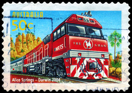 AUSTRALIA - CIRCA 2004: A Stamp printed in AUSTRALIA shows the Alice Springs to Darwin line, Australian Railways, 150th Anniversary, series, circa 2004