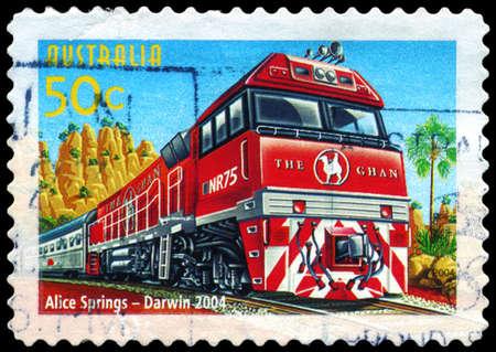 AUSTRALIA - CIRCA 2004: A Stamp printed in AUSTRALIA shows the Alice Springs to Darwin line, Australian Railways, 150th Anniversary, series, circa 2004