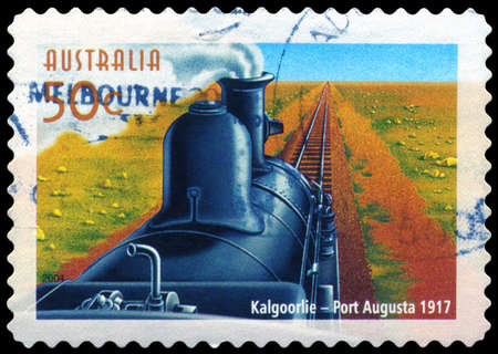 AUSTRALIA - CIRCA 2004: A Stamp printed in AUSTRALIA shows the Kalgoorlie to Port Augusta line, Australian Railways, 150th Anniversary, series, circa 2004 Stock Photo - 14987871