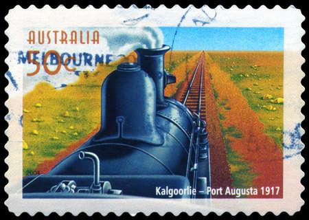 AUSTRALIA - CIRCA 2004: A Stamp printed in AUSTRALIA shows the Kalgoorlie to Port Augusta line, Australian Railways, 150th Anniversary, series, circa 2004 Stock Photo - 14987871