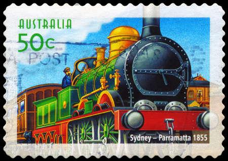 AUSTRALIA - CIRCA 2004: A Stamp printed in AUSTRALIA shows the Sydney to Parramatta line, Australian Railways, 150th Anniversary, series, circa 2004 Stock Photo - 14987912