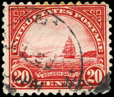 USA - CIRCA 1923: A Stamp printed in USA shows Golden Gate, Pilgrim Tercentenary Issue, circa 1923