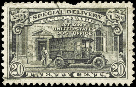 USA - CIRCA 1925: A Stamp printed in USA shows the Postman and Post Office Truck, Special Delivery issue, circa 1925