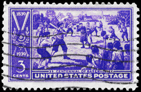 USA - CIRCA 1939: A Stamp printed in USA shows the Sand-lot Baseball Game, Centennial issue, circa 1939 photo