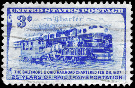 USA - CIRCA 1952: A Stamp printed in USA shows the Charter and Three Stages of Rail Transportation, 125th anniversary issue of the Baltimore and Ohio Railroad chartered, circa 1952