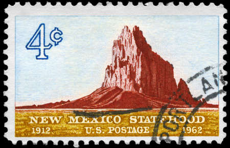 statehood: USA - CIRCA 1962: A Stamp printed in USA shows the Shiprock, New Mexico Statehood, 50th anniversary, circa 1962