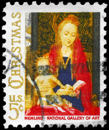 """USA - CIRCA 1966: A Stamp printed in USA shows the fragment from """"Madonna and Child with Angels"""", by the Flemish artist Hans Memling (1430-1494), National Gallery of Art, Washington, circa 1966"""
