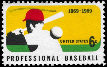 USA - CIRCA 1969: A Stamp printed in USA shows a Batter, Professional Baseball Centenary, circa 1969 Editöryel