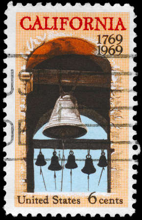 USA - CIRCA 1969: A Stamp printed in USA shows the Carmel Mission Belfry, California Settlement, 200th anniversary issue, circa 1969 photo