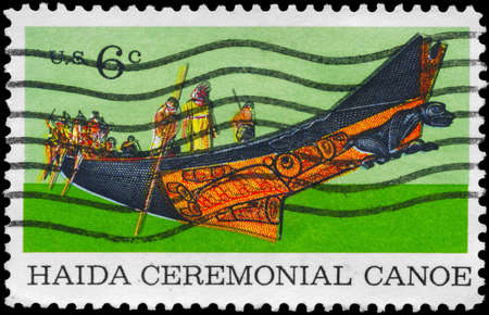 haida indian: USA - CIRCA 1970: A Stamp printed in USA shows a Tlingit Chief in Haida Ceremonial Canoe, natural history issue, circa 1970 Stock Photo