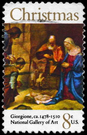 "USA - CIRCA 1971: A Stamp printed in USA shows the ""Adoration of the Shepherds"", by Giorgione (1478-1510), National Gallery of Art, Washington, circa 1971 Stock Photo - 14986923"