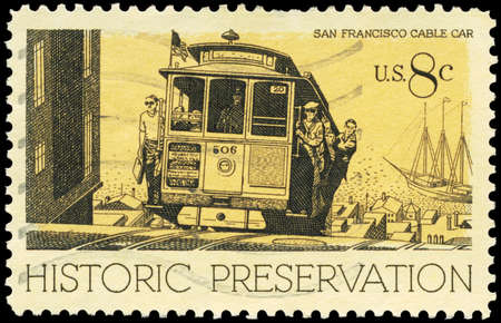 tramline: USA - CIRCA 1971: A Stamp printed in USA shows the Cable Car, San Francisco, Historic Preservation issue, circa 1971
