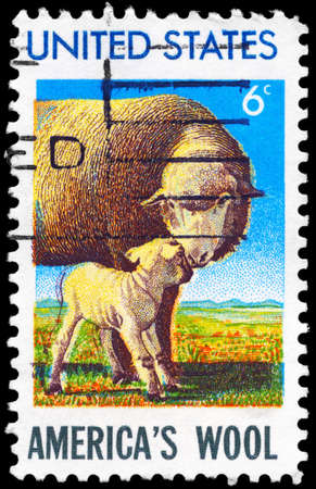 USA - CIRCA 1971: A Stamp printed in USA shows the Ewe and Lamb, American Wool Industry issue, circa 1971 photo