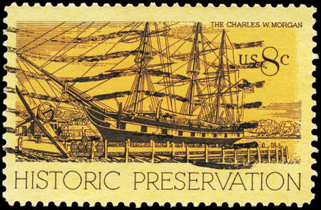 whaling: USA - CIRCA 1971: A Stamp printed in USA shows the Whaling Ship Charles W. Morgan, Mystic, Connecticut, Historic Preservation issue, circa 1971