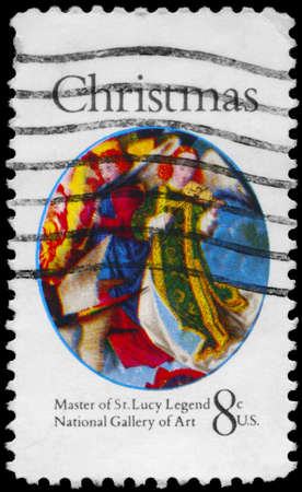 USA - CIRCA 1972: A Stamp printed in USA shows the detail from a painting by the Master of the Saint Lucy Legend (fl. 1480-1510), National Gallery of Art, Washington, circa 1972 Stock Photo - 14986941