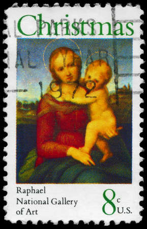 USA - CIRCA 1973: A Stamp printed in USA shows the Small Cowper Madonna, by Raphael (1483-1520), National Gallery of Art, Washington, circa 1973 Stock Photo - 14986901