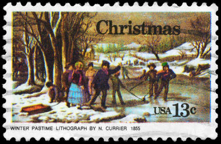 USA - CIRCA 1976: A Stamp printed in USA shows the Winter Pastime, by Nathaniel Currier, Christmas issue, circa 1976 Stock Photo - 14987827