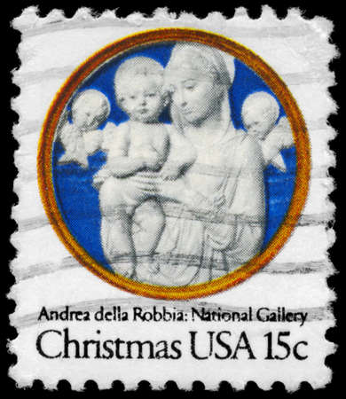 USA - CIRCA 1978: A Stamp printed in USA shows the Madonna and Child with Cherubim, by Andrea della Robbia (1435-1525), National Gallery, circa 1978