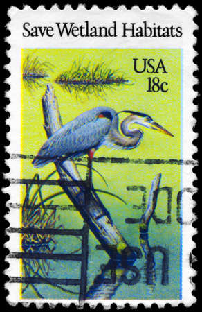 habitats: USA - CIRCA 1981: A Stamp printed in USA shows the Heron, Preservation of Wildlife Habitats, circa 1981