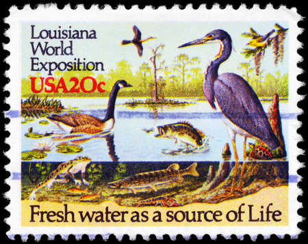 USA - CIRCA 1984: A Stamp printed in USA shows the River Wildlife, New Orleans World Exposition, circa 1984 Stock Photo - 14987825