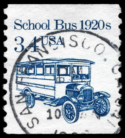 motorcoach: USA - CIRCA 1985: A Stamp printed in USA shows the School Bus, Transportation series, circa 1985
