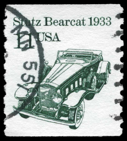 bearcat: USA - CIRCA 1985: A Stamp printed in USA shows the Stutz Bearcat car, Transportation series, circa 1985