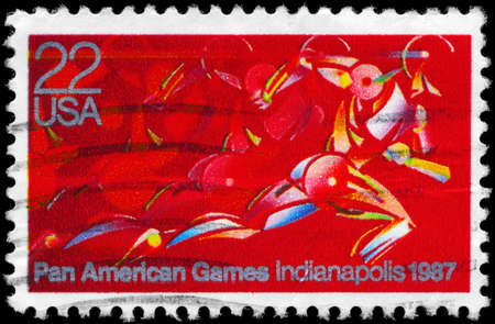 stride: USA - CIRCA 1987: A Stamp printed in USA shows a Runner in full Stride, Pan American Games, Indianapolis, circa 1987