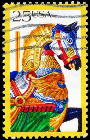 carousel horse: USA - CIRCA 1988: A Stamp printed in USA shows the Horse, Carousel animals, Folk Art series, circa 1988