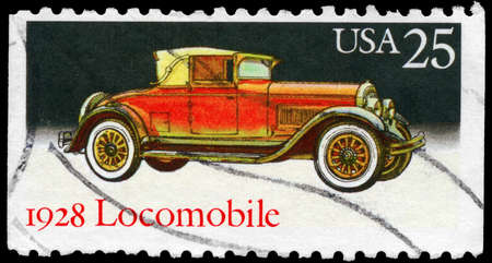 USA - CIRCA 1988: A Stamp printed in USA shows the Locomobile (1928), Classic Automobiles series, circa 1988