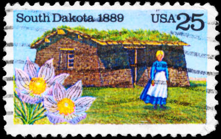 USA - CIRCA 1989: A Stamp printed in USA shows the State Flower, Pioneer Woman & Sod House on Grasslands, South Dakota State centenary, circa 1989 Stock Photo